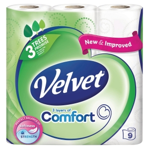 TRIPLE VELVET WHITE 2 PLY TOILET TISSUE - PACK OF 9