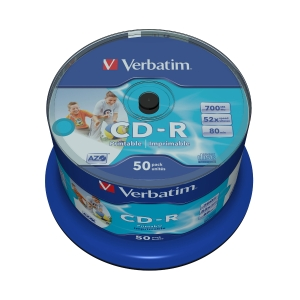 BX50 VERBATIM CD-R SPINDLE 700MB PRINTABLE