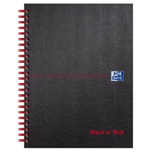 Black n  Red A5+ Matt Hardback Wirebound Notebook Ruled with Margin 140 Page