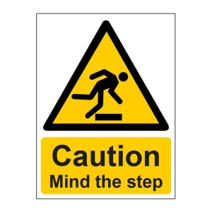 MIND THE STEP SIGN 150 X 200MM VINYL