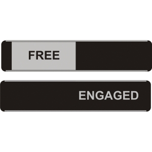 SLIDING DOOR SIGN FREE / ENGAGED 52 X 255MM
