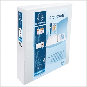 KREACOVER PP RING BINDER, 32X28CM, 4 D-RINGS, 64MM SPINE - WHITE