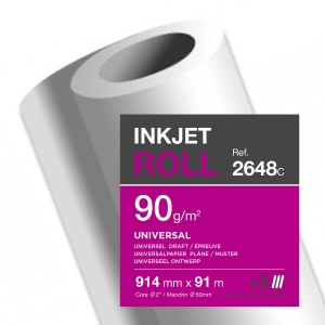 MATT UNCOATED WHITE PLOTTER ROLLS 90GSM - BOX OF 3
