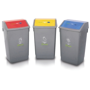 ADDIS GREY 54 LITRE RECYCLING BINS (LIDS NOT INCLUDED) - PACK OF 3