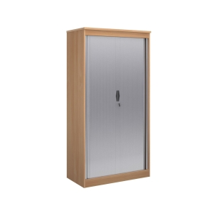 WOODEN TAMBOUR CUPBOARD 2000MM GRAPHITE GREY / BEECH