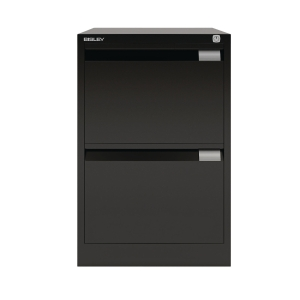 BISLEY BLACK 2-DRAWER FOOLSCAP FILING CABINET