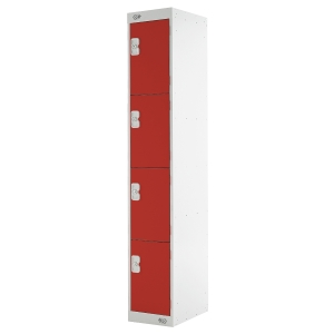 LOCKER 1800H x 300W x 450D, 4-DOOR, red