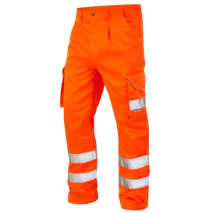 HIGH VISIBILITY POLY COTTON CARGO TROUSERS ORANGE 32R
