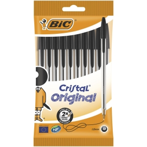 BIC CRISTAL BALL POINT BLACK PENS 0.4MM LINE WIDTH - BOX OF 10