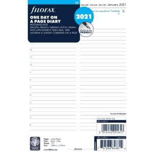 FILOFAX A5 DESK ORGANISER REFILL INSERTS - PAGE A DAY