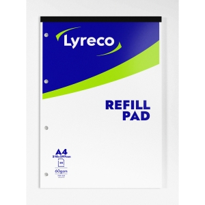 LYRECO WHITE A4 REFILL PADS (RULED/MARGIN) - PACK OF 10
