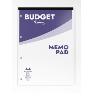 LYRECO BUDGET WHITE A4 MEMO PADS (RULED) - PACK OF 10 (10 X 80 SHEETS)