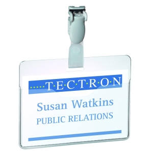 DURABLE VISITOR BADGES 60 X 90MM PLASTIC CLIP - CLEAR - BOX OF 25