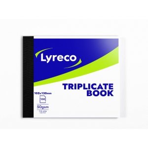 LYRECO 127 X 102MM TRIPLICATE BOOK - 100 NUMBERED SHEETS