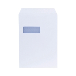 LYRECO WHITE C4 SELF SEAL WINDOW ENVELOPES 100GSM - BOX OF 250