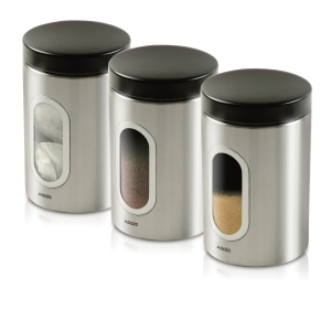 ADDIS STAINLESS STEEL 900ML CANNISTERS - PACK OF 3