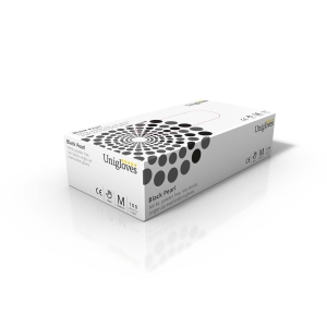 BLACK PEARL 2502 NITRILE POWDERFREE DISPOSABLE GLOVE BLACK MEDIUM (BOX OF 100)