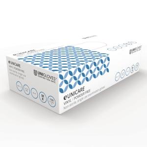 UNICARE 1723 VINYL POWDERFREE DISPOSABLE GLOVES BLUE MEDIUM (BOX OF 100)