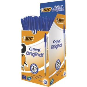 BIC CRISTAL BALL POINT BLUE PENS 0.7MM LINE WIDTH - BOX OF 50