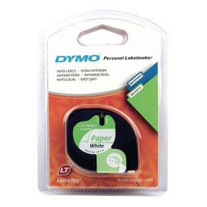 DYMO LETRATAG PAPER LABELLING TAPE 4M X 12MM - BLACK ON WHITE