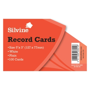PK100 RECORD CARD PLAIN 5X3  WHITE