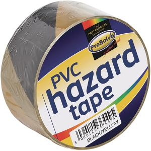 ROLL HAZARD WARNINGTAPE YELOWBLACK 50MM 33MTR ADHESIVE