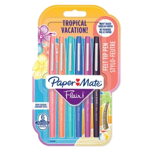 PAPERMATE FLAIR ASSORTED TROPICAL COLOUR FIBRETIP PENS - PACK OF 6