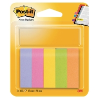 3M POST-IT NOTE PAGE MARKERS NEON 15X50MM 5 PADS