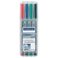 STAEDTLER LUMOCOLOR NON-PERMANENT PENS FINE ASSORTED COLOURS - BOX OF 4