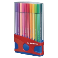 STABILO 68 ASSORTED COLOUR FIBRE TIP PENS - BOX OF 20