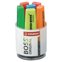 STABILO BOSS ASSORTED COLOUR HIGHLIGHTERS - DESK SET OF 6