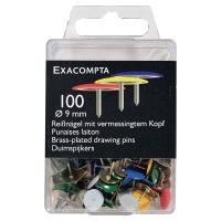 DRAWING PINS ASSORTED COLOUR 10MM - BOX OF 100