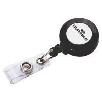 DURABLE BADGE REEL WITH METAL CLIP AND 600MM RETRACTABLE CORD - PACK OF 10