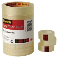 SCOTCH EASY TEAR CLEAR TAPE 19MM X 66M - PACK OF 8