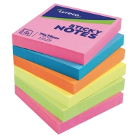 LYRECO ASSORTED COLOUR BRIGHT STICKY NOTES 76 X 76MM - PACK OF 6 PADS