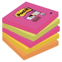 POST-IT SUPER STICKY NOTES NEON RAINBOW 76X76MM  5 PAD PACK (90 SHEETS PER PAD)