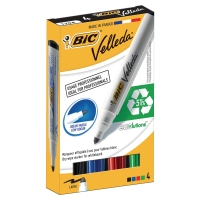 BIC WHITEBOARD MARKERS BULLET TIP ASSORTED COLOURS - PACK OF 4