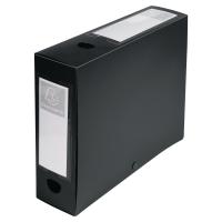 EXACOMPTA BLACK FOOLSCAP POLYPROPYLENE DOCBOX FILE 80MM