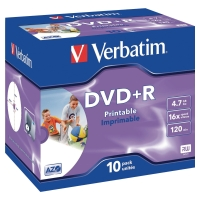 BX10 VERBATIM DVD+R JEWEL CASE PRINTABLE 4.7GB