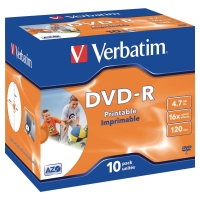 BX10 VERBATIM DVD-R PRINTABLE JEWEL CASE