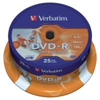 VERBATIM DVD-R PRINTABLE 4.GB 1X-16X - SPINDLE OF 25