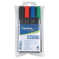 LYRECO BULLET TIP ASSORTED COLOUR FLIPCHART MARKERS - WALLET OF 4