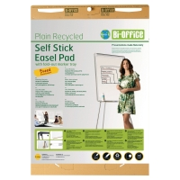 BI-OFFICE EARTH IT PLAIN RECYCLED SELF STICK EASEL FLIPCHART PAD - PACK OF 2