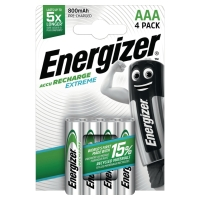 ENERGIZER RECHARGEABLE BATTERIES HR03/AAA 800MAH - PACK OF 4