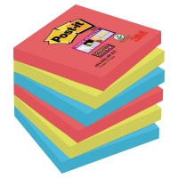 POST IT SUPER STICKY BRIGHT NOTES JEWEL POP 76X76MM PACK OF 6