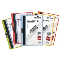 DURACLIP FOLDERS 30 SHEET CAPACITY ASSORTED COLOURS - PACK OF 5