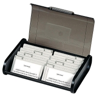 EXACOMPTA TOP LINE BUSINESS CARD CASSETTE CLASSIC 400 CARDS CAPACITY BLACK/GREY