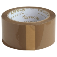 LYRECO PREMIUM HOT MELT PACK TAPE 50MMX100M BROWN - PACK OF 6