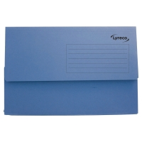 LYRECO BLUE FOOLSCAP DOCUMENT WALLETS 290GSM 32MM CAPACITY - BOX OF 50