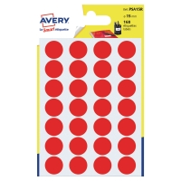 PK168 AVERY PSA15R DOT LABELS DIA15MM RED